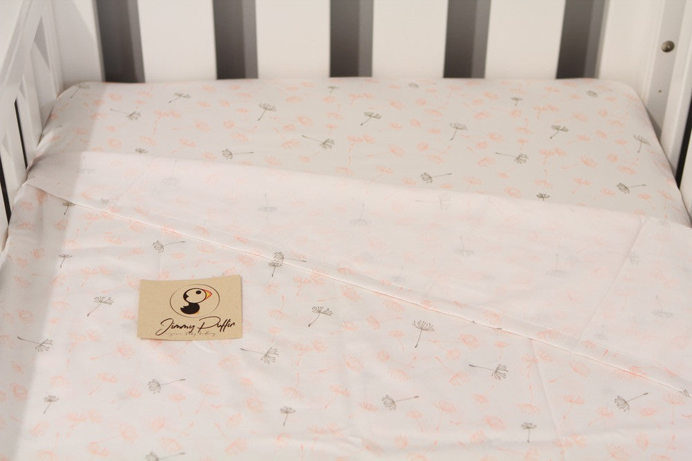 Jimmy Puffin - Cot Sheet Sets - Blowin' in the Breeze - Soft Peach