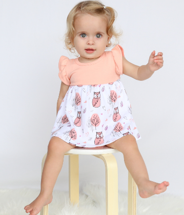 Woodland Owl Baby Dress and Bloomer Set