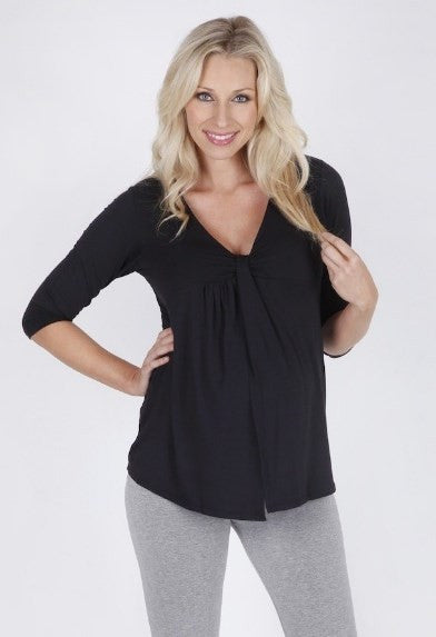 Macy Bamboo Maternity Top 3/4 Sleeve - Black