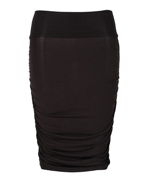 Ruched Bamboo Maternity Skirt - Black