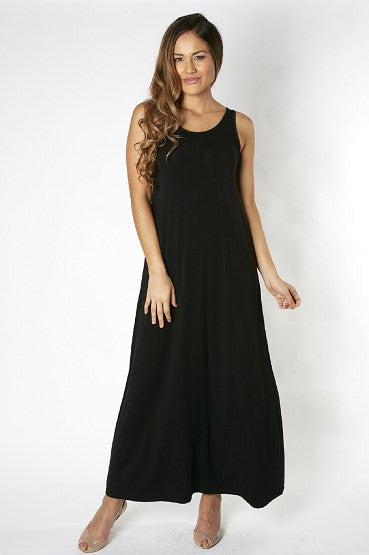 Bamboo Maternity Maxi Dress - Black
