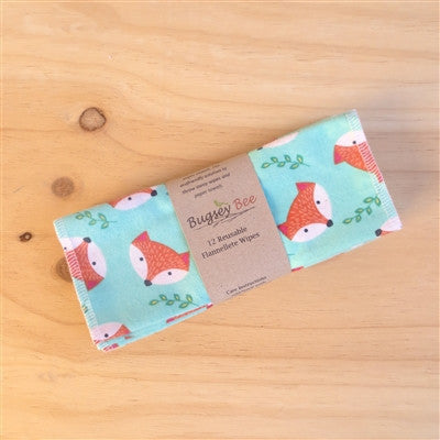 Set of 12 Flannelette Reusable Wipes - Foxes - Bugseybee