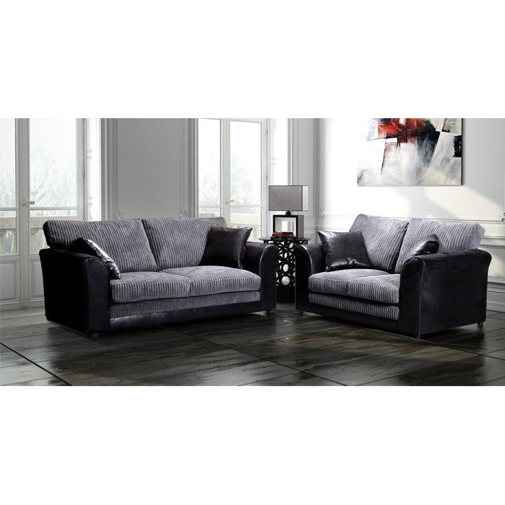 Cheap Sofas Online, Jax Formal Fabric Sofa Set 3+2 : Black U0026 Grey