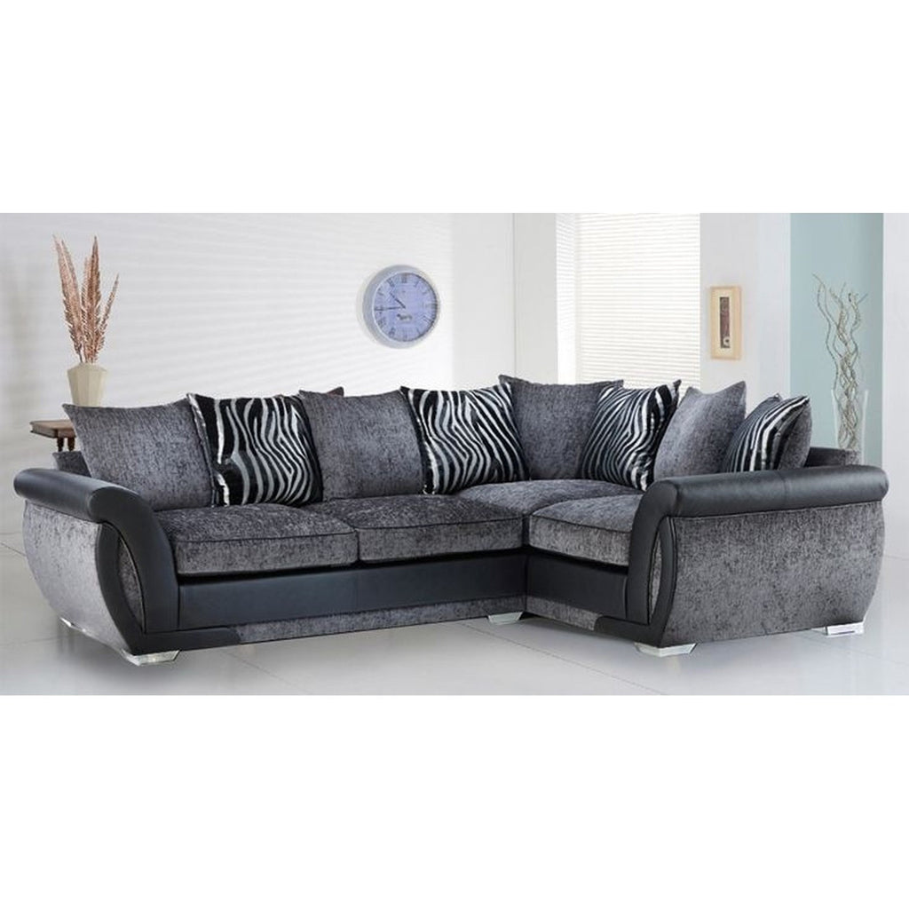 Cheap Sofas Online, Malta Fabric Corner Sofa Range: Black & Grey - Cheap  Sofa