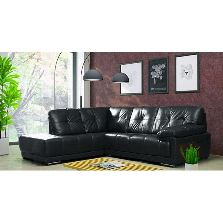Santana Black Leather Corner Sofa Suite