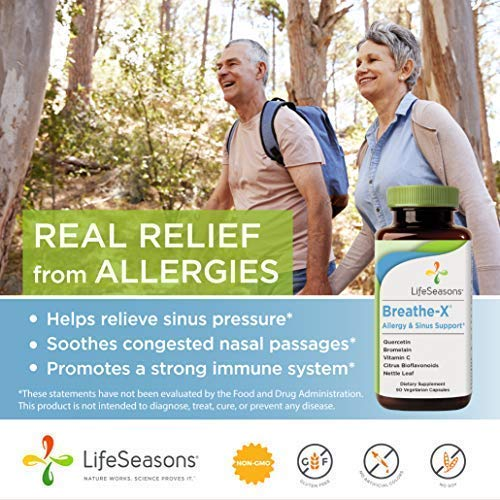 Breathe-X - Fast Acting Allergy Relief Supplement - Reduce Sinus and Nasal Discomfort - Boost Immune System - with Quercetin, Bromelain, Nettle Leaf - LifeSeasons (90 Capsules)