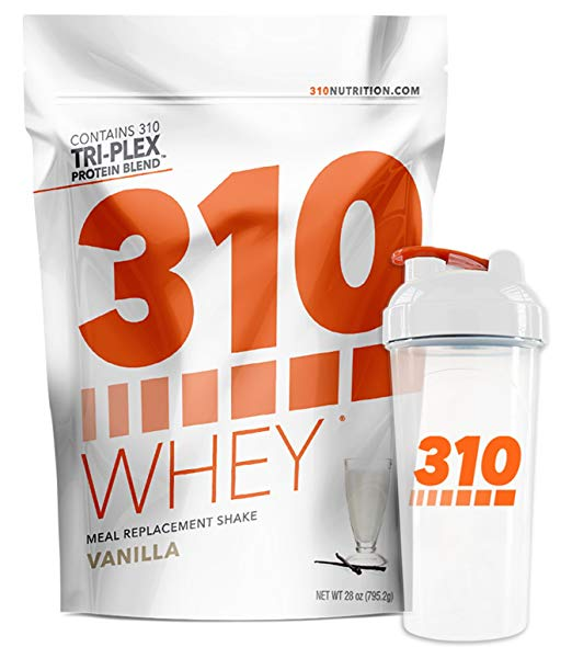 Vanilla Meal Replacement and 310 Shaker | 310 Shake Whey Protein Powder is Gluten Free, Soy Protein Free and Sugar Free | Includes Free Recipe eBook | 28 Servings (Includes Shaker)
