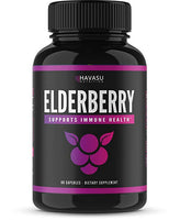 Elderberry Capsules with Sambucus Nigra and Antioxidants for Added Benefits in Optimizing Immune Support; Non-GMO & Gluten Free; 60 Capsules for Men & Women