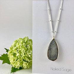 Long Natural Silver Druzy Necklace by Naked Sage