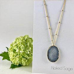 Long Natural Gold Druzy Necklace by Naked Sage