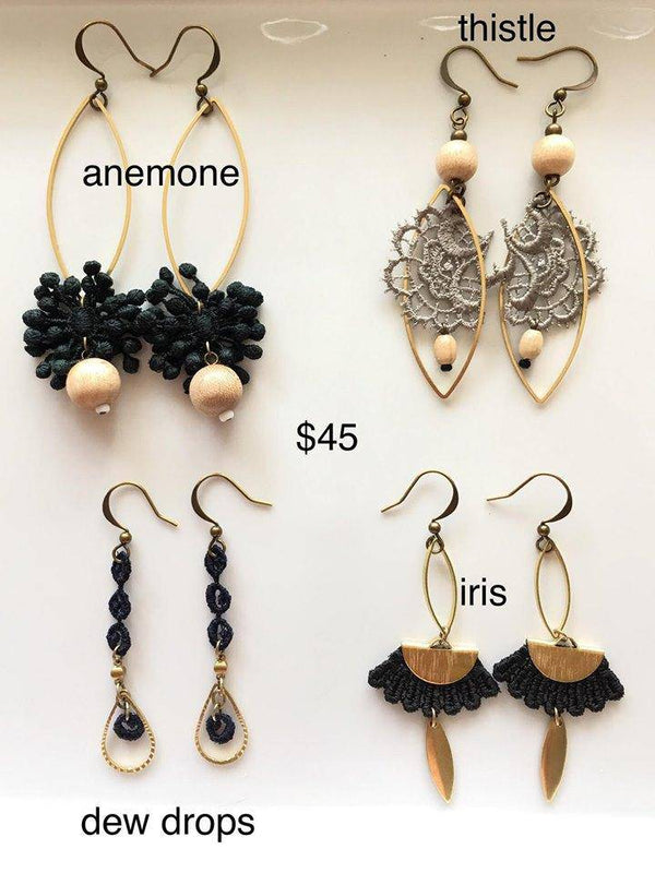 Handmade Lace and Brass Earrings