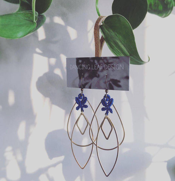 Handmade Lace and Brass Earrings - West Coast Mamas
