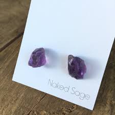Raw Ruby/Amethyst Studs by Naked Sage