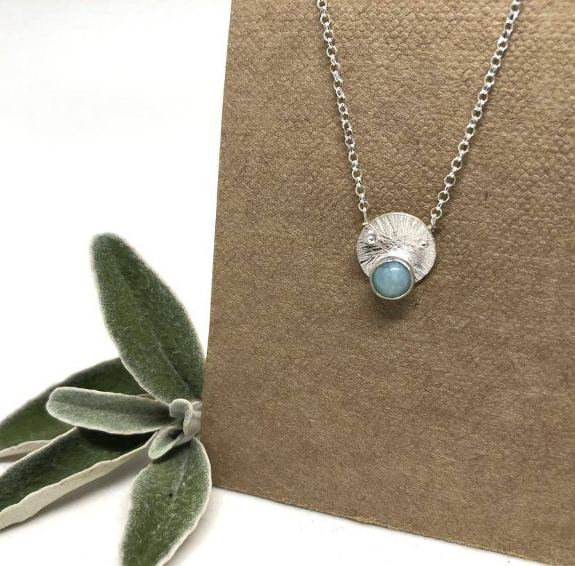 Mandala Necklace (Larimar & Silver)