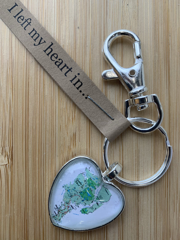 Map Heart Keychain