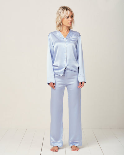 Elisabetha Silk Pyjama in Candy Blue - Bottom