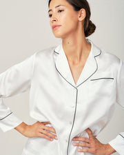 Elisabetha Silk Pyjama in Moonlight White - Top