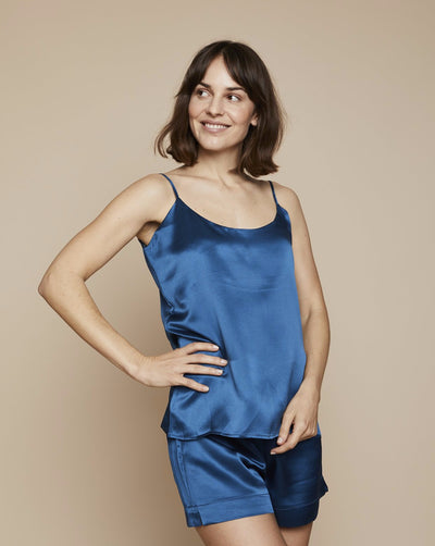 Thera in Blue Hour - Loungewear Cami, Pyjama, Silk Pyjama, Nightwear | RADICE