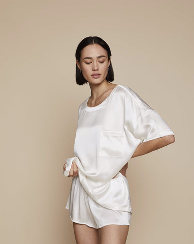 Thera Set in Moonlight White - Loungewear Set, Pyjama, Silk Pyjama, Nightwear | RADICE