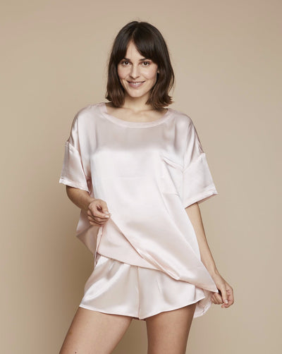 Thera Silk Shirt and Short in Candy Rosé - Set | Loungewear Set, Pyjama, Silk Pyjama, Nightwear | RADICE