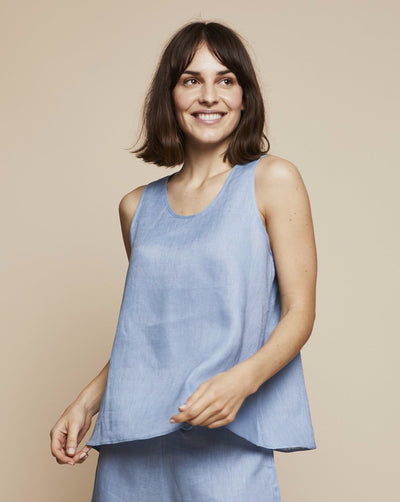 Thera Linen Tank Top in Candy Blue | RADICE Loungewear