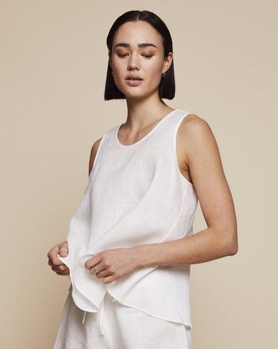 Thera Linen Tank Top in Moonlight White | RADICE Loungewear