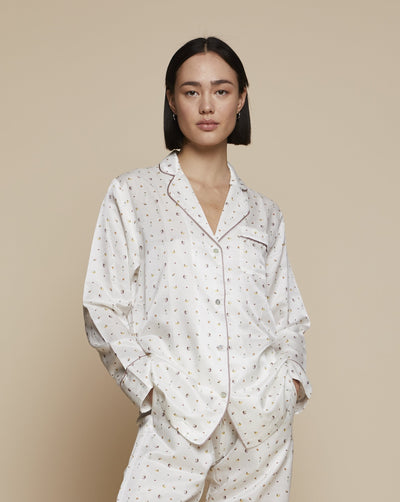 Ronja Cotton Silk Pyjama in Beach Day - Top - Loungewear Top, Pyjama, Silk Pyjama, Nightwear | RADICE