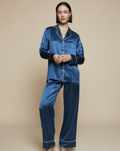 Elisabetha in Blue Hour - Loungewear Bottom, Pyjama, Silk Pyjama, Nightwear | RADICE