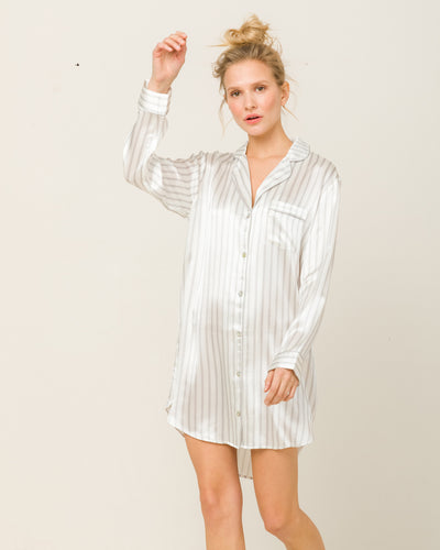 Camilla in Hiatu Grey Stripes - Nightshirt