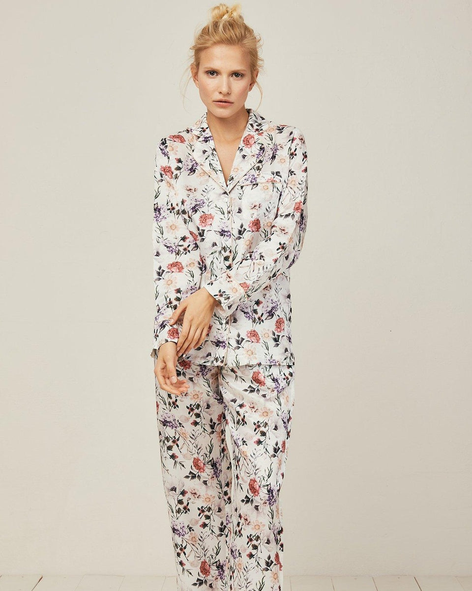 Ronja Cotton Silk Pyjama in Ravello - Top Loungewear, Pyjama, Silk, Seide, Schlafanzug | RADICE