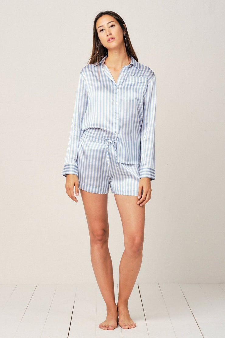 Alexandra Silk Pyjama in Candy Blue Stripes - Top Loungewear, Pyjama, Silk, Seide, Schlafanzug | RADICE