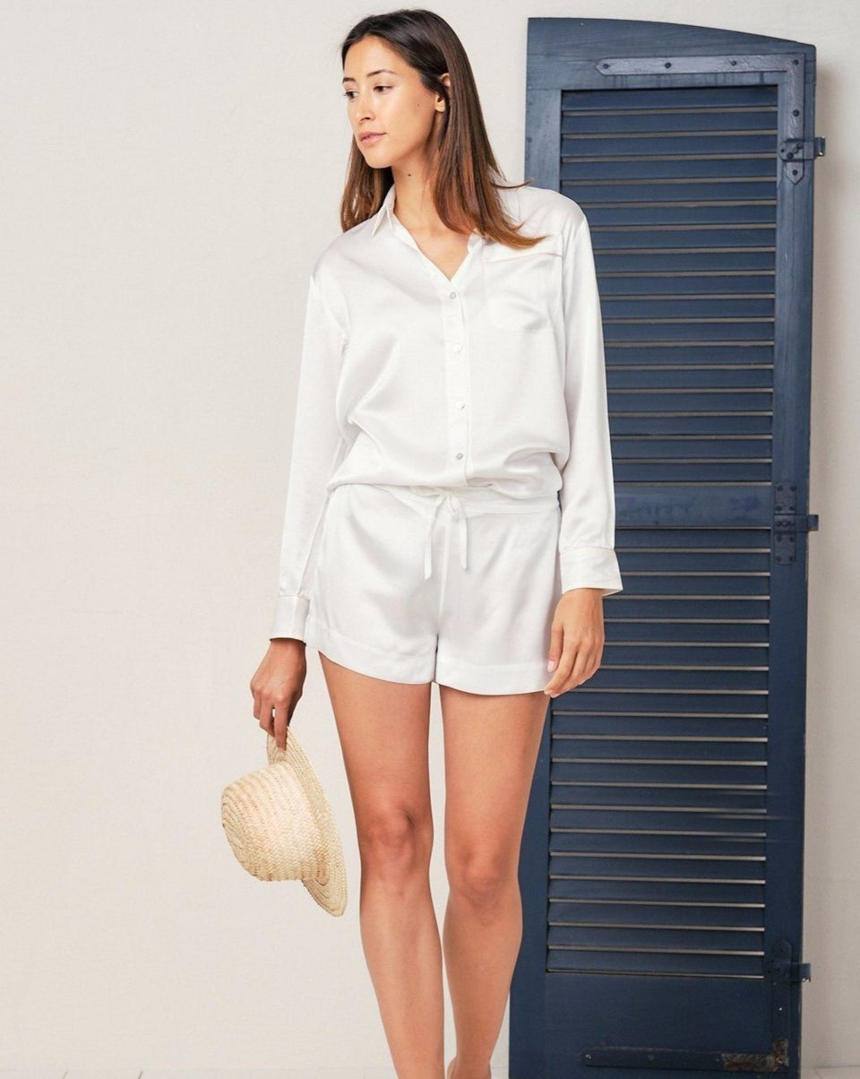 Alexandra Silk Pyjama in Moonlight White - Short Loungewear, Pyjama, Silk, Seide, Schlafanzug | RADICE