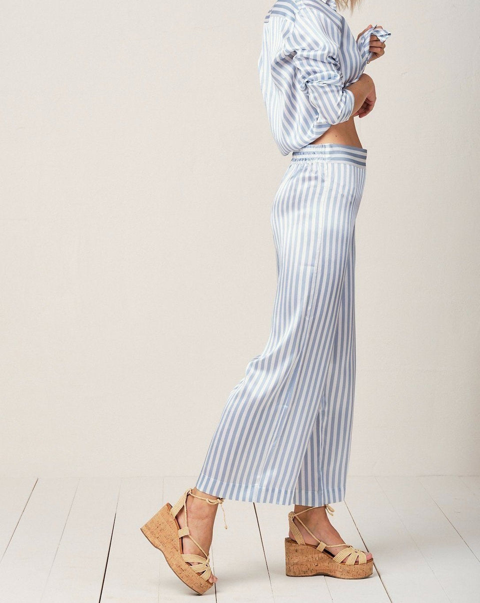 Alexandra Silk Pyjama in Candy Blue Stripes - Bottom Loungewear, Pyjama, Silk, Seide, Schlafanzug | RADICE