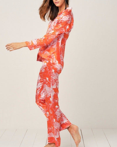 Elisabetha Silk Pyjama in Tea Garden Red - Bottom Loungewear, Pyjama, Silk, Seide, Schlafanzug | RADICE