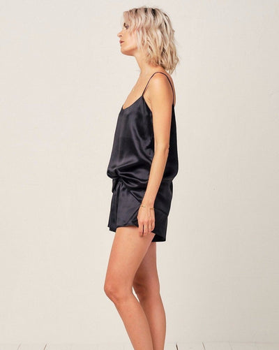 Thera Silk Cami in Midnight Black - Short Loungewear, Pyjama, Seidenpyjama, Schlafanzug | RADICE