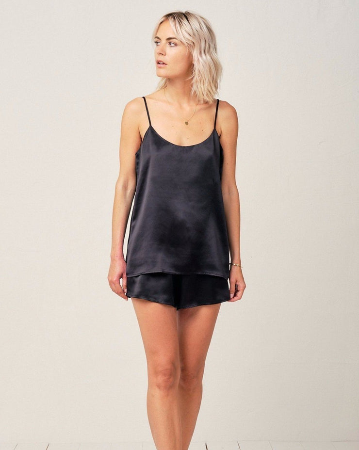 Thera Silk Cami in Midnight Black - Top