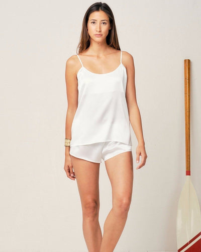 Thera Silk Cami in Moonlight White - Top Loungewear, Pyjama, Seidenpyjama, Schlafanzug | RADICE