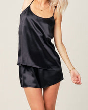 Thera Silk Cami in Midnight Black - Short Loungewear, Pyjama, Silk, Seide, Schlafanzug | RADICE