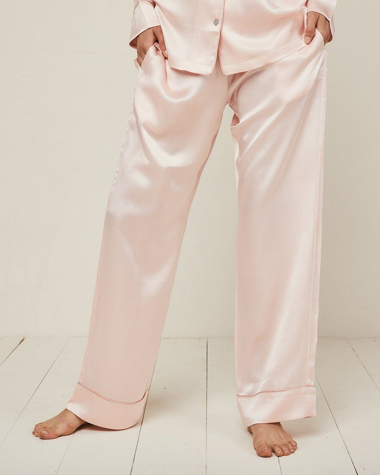 Elisabetha Silk Pyjama in Candy Rose - Bottom Loungewear, Pyjama, Silk, Seide, Schlafanzug | RADICE