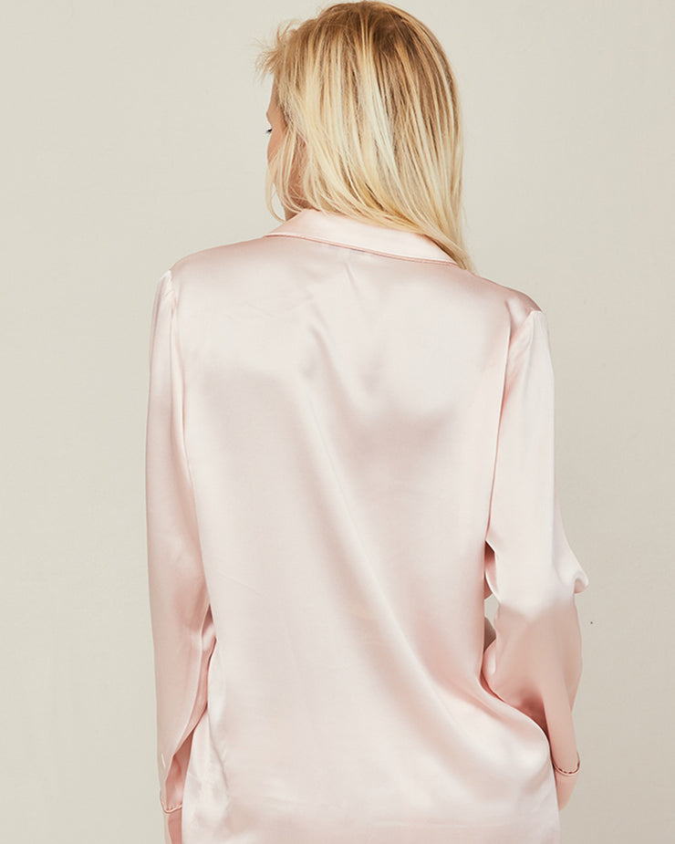 Elisabetha Silk Pyjama in Candy Rose - Top