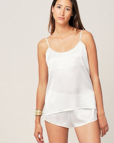 Thera Silk Cami in Moonlight White - Short Loungewear, Pyjama, Seidenpyjama, Schlafanzug | RADICE