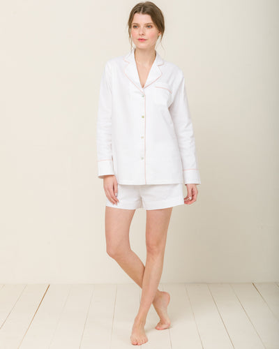 Sophia in Moonlight White - Top Loungewear, Pyjama, Seidenpyjama, Schlafanzug | RADICE