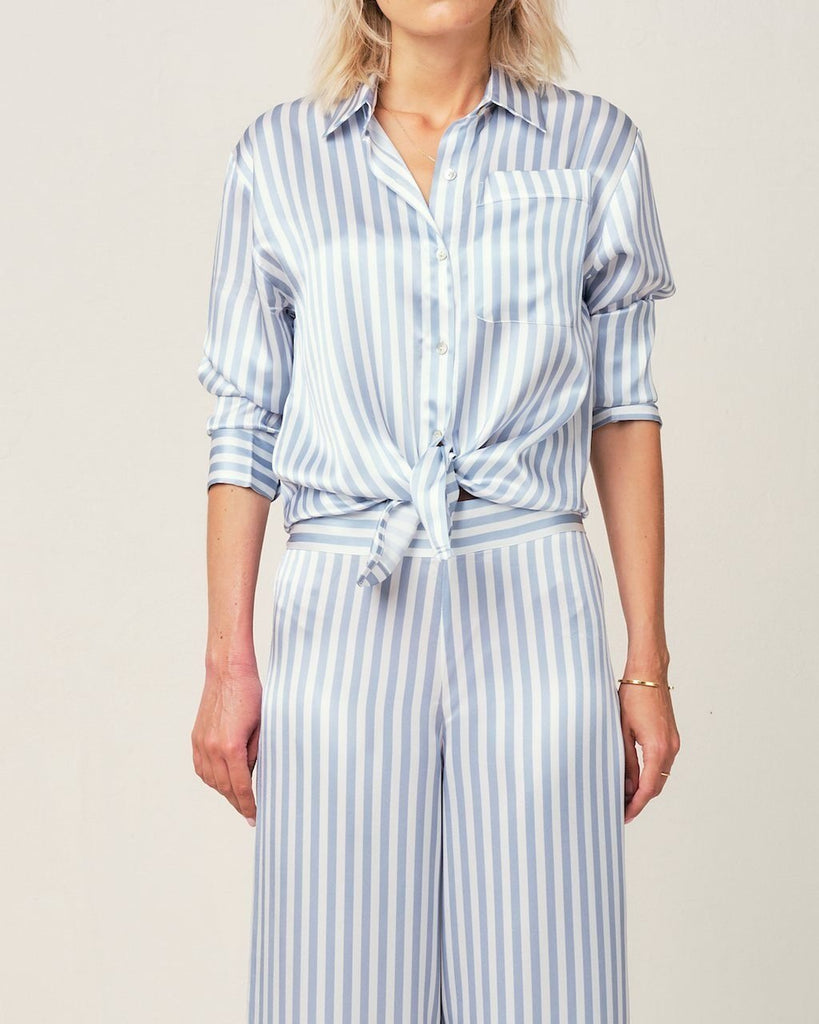 Alexandra Silk Pyjama in Candy Blue Stripes - Top