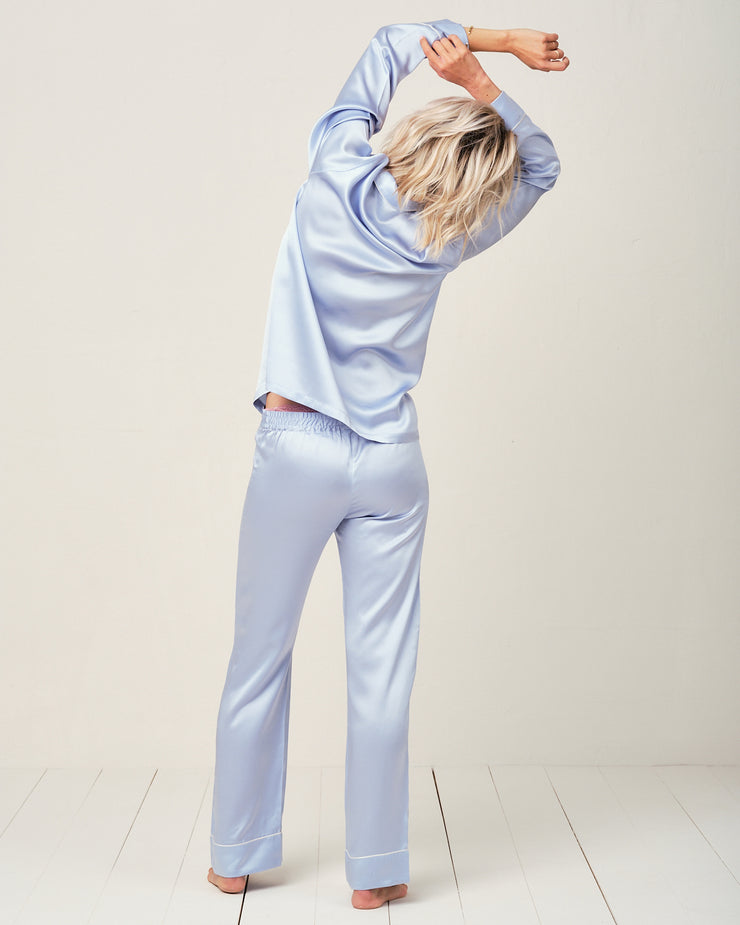 Elisabetha Silk Pyjama in Candy Blue - Top