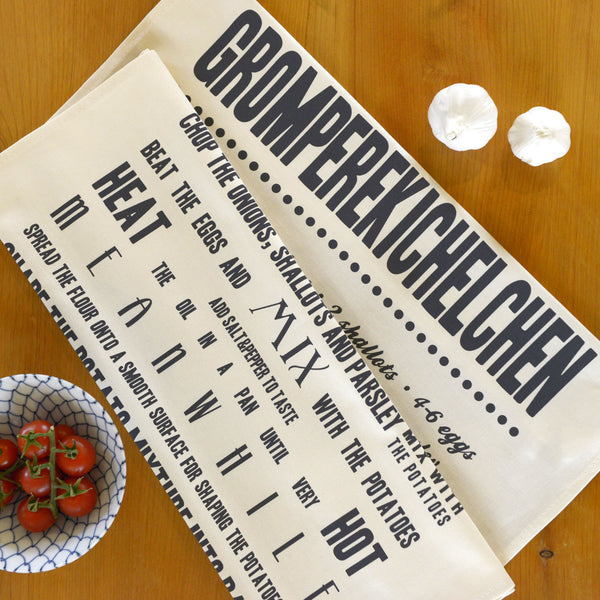 Gromperekichelchen Tea Towel in English