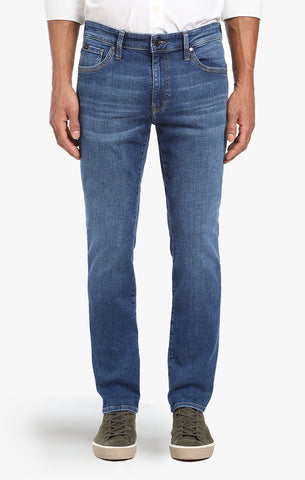 COOL TAPERED LEG JEANS IN MID INDIGO CASHMERE