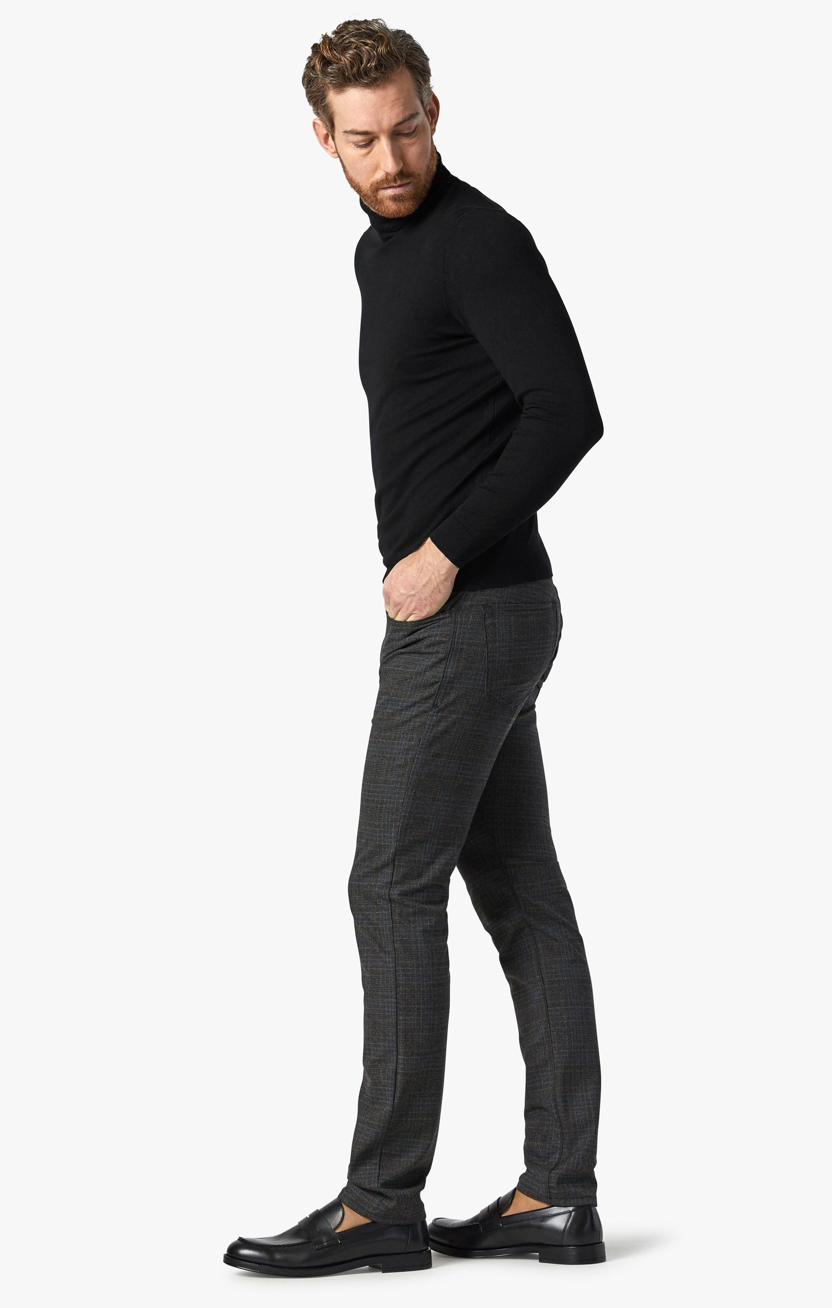 Cool Tapered Leg Pants In Smoke Fancy Checked Image 6
