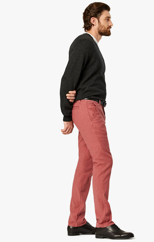 Naples Straight Leg Chino Pants in Coral Linen