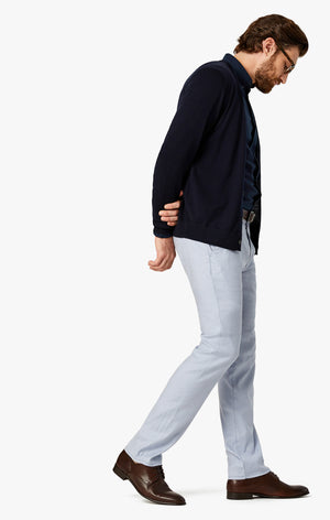 Naples Straight Leg Chino Pants in Light Blue Linen