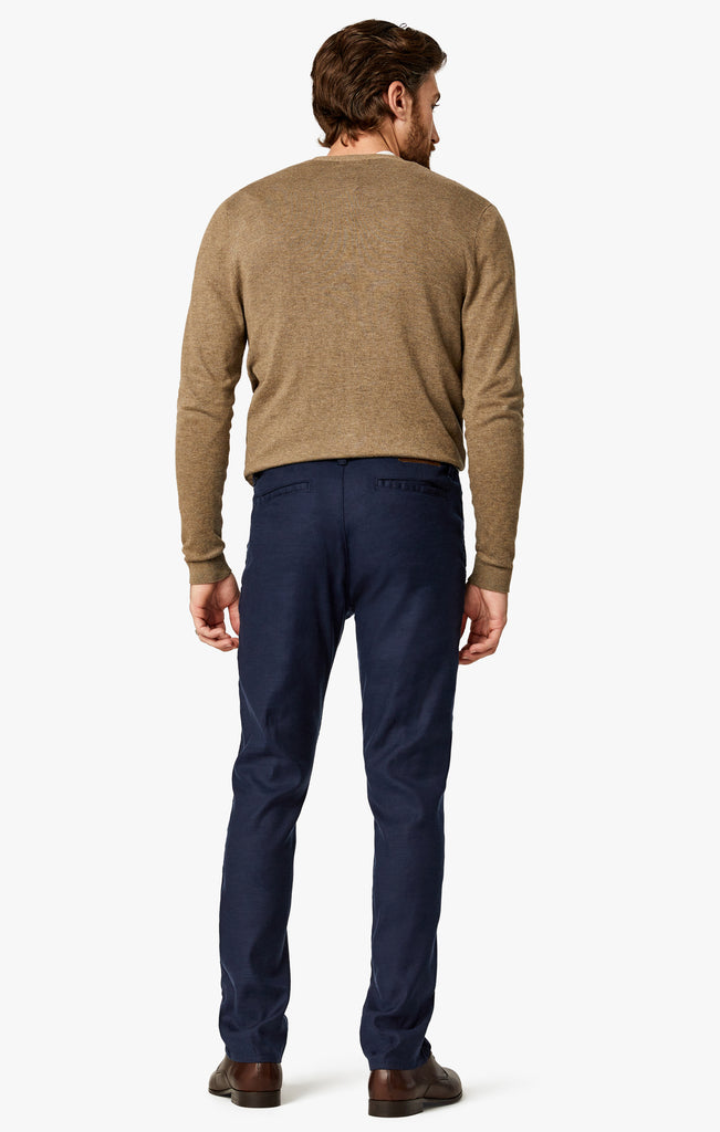 Naples Straight Leg Chino Pants In Navy Linen